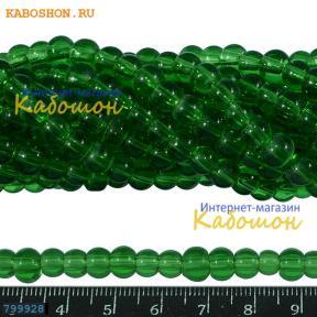 Бусины стеклянные 7х5 мм травянисто-зеленые