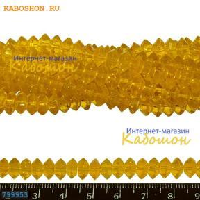 Бусины стеклянные граненые 8х4 мм желтые