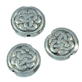 Бусина плоская круглая 9 мм старинное серебро (10 шт)