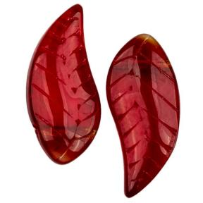 Бусины листики 18х8 мм темный рубин