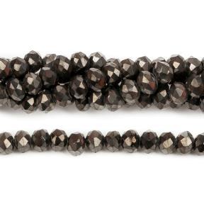 Бусины стеклянные граненые 3х2 мм черный никель