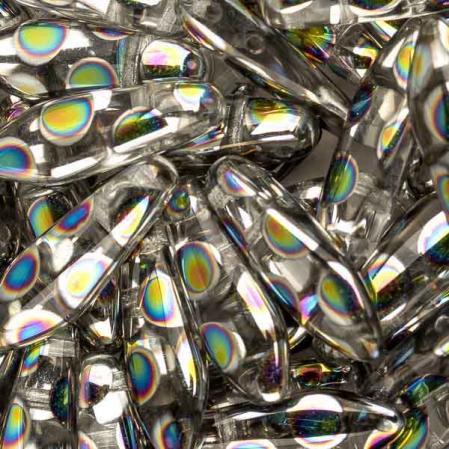 2-hole Glass Dagger 5х16 мм Crystal Vitrail Dots (10 шт)