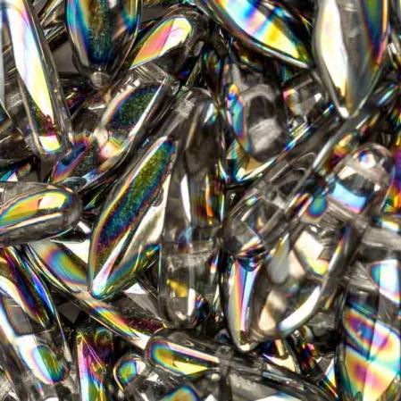 2-hole Glass Dagger 5х16 мм Crystal Vitrail Stripes (10 шт)