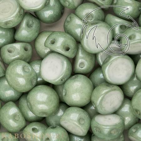 Стеклянные чешские бусины Cabochon 6 мм Chalk White Teal Luster (10 шт)