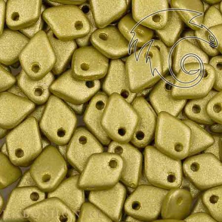 Стеклянные чешские бусины Dragon Scale Bead 1,5x5 мм Alabaster Metallic Lime