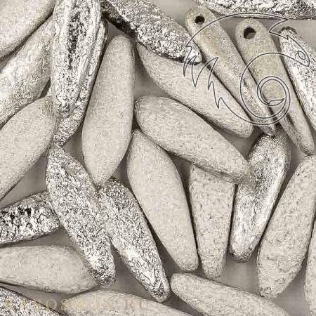 Стеклянные чешские бусины Glass Dagger 5х16 мм Crystal Etched Labrador Full (10 шт)
