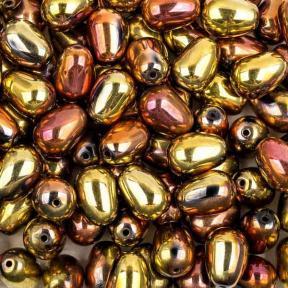 Glass drops 11х8 мм Jet California Gold Rush (10 шт)