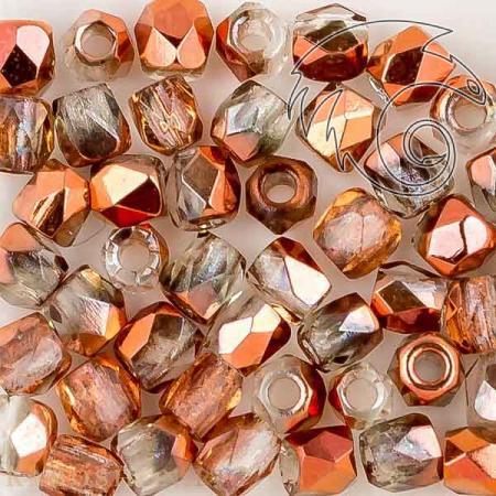 Стеклянные чешские бусины Fire polished 2 мм Crystal Sunset