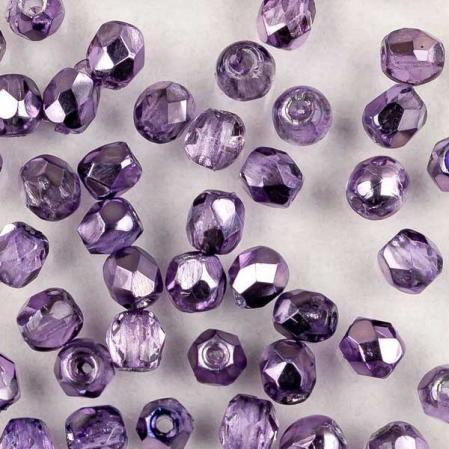 Fire polished 3 мм Crystal Violet Metallic Ice