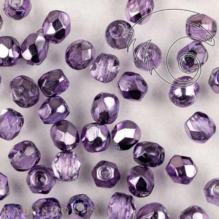 Стеклянные чешские бусины Fire polished 3 мм Crystal Violet Metallic Ice