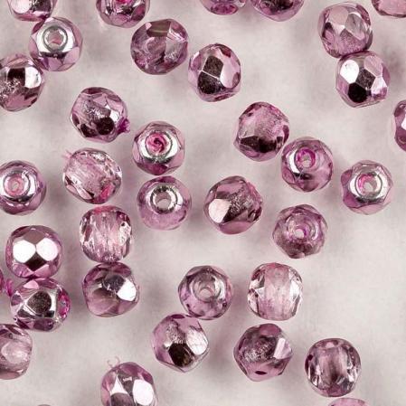 Fire polished 3 мм Crystal Lilac Metallic Ice
