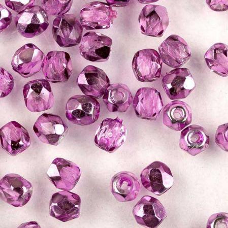 Fire polished 3 мм Crystal Purple Metallic Ice