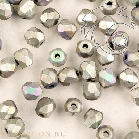 Стеклянные чешские бусины Fire polished 3 мм Crystal Glittery Silver Matted