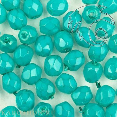 Стеклянные чешские бусины Fire polished 4 мм Crystal Opal Turquoise