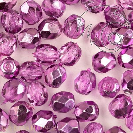 Стеклянные чешские бусины Fire polished 4 мм Crystal Purple Metallic Ice