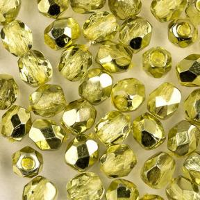 Fire polished 4 мм Crystal Lime Metallic Ice