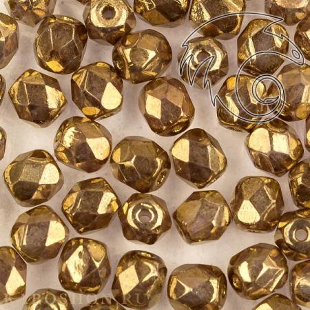 Стеклянные чешские бусины Fire polished 4 мм Crystal Gold