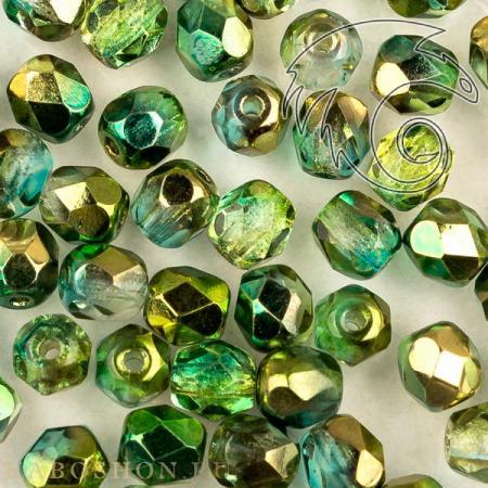 Стеклянные чешские бусины Fire polished 4 мм Crystal Sunny Magic Summer Green
