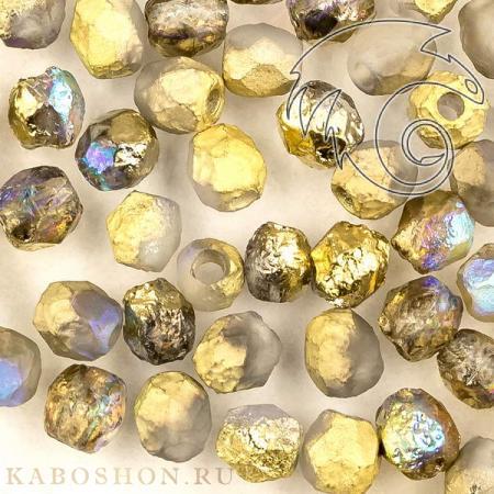 Стеклянные чешские бусины Fire polished 4 мм Crystal Etched Golden Rainbow