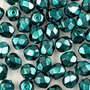 Fire polished 4 мм Jet Heavy Metal Turquoise