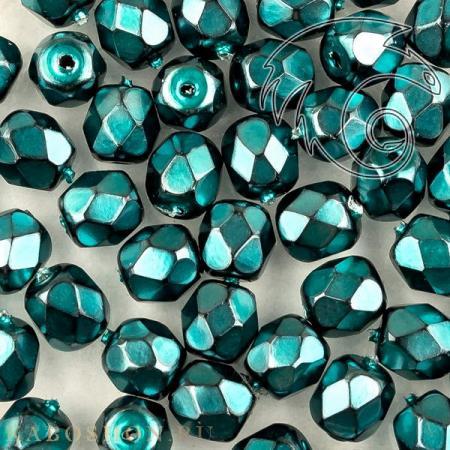 Стеклянные чешские бусины Fire polished 4 мм Jet Heavy Metal Turquoise