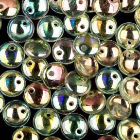 Lentils 6 mm Crystal Green Rainbow
