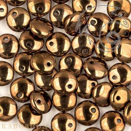 Стеклянные чешские бусины Lentils 6 mm Jet Bronze