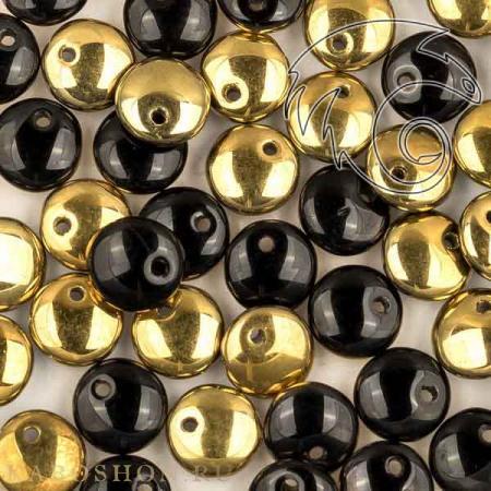 Стеклянные чешские бусины Lentils 6 mm Jet Amber