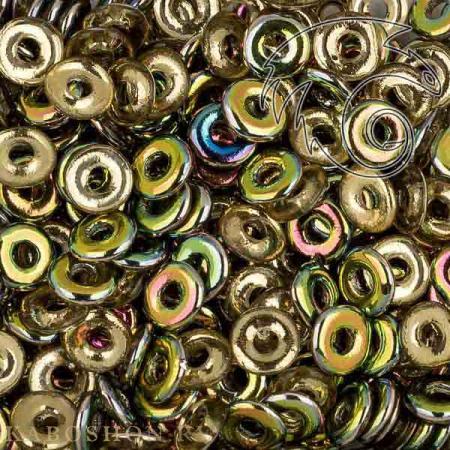 Стеклянные чешские бусины O bead 4 мм Topaz Vitrail