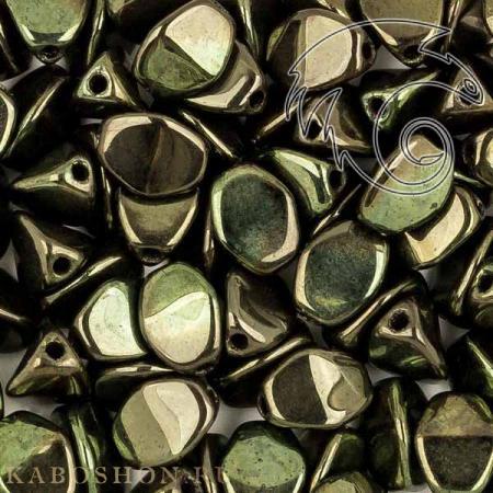 Стеклянные чешские бусины Pinch beads 5х3 мм Jet Red Luster