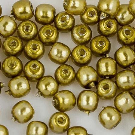 Стеклянный жемчуг 2 мм Shiny Old Green Gold