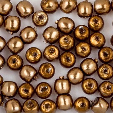 Стеклянный жемчуг 2 мм Shiny Antique Gold
