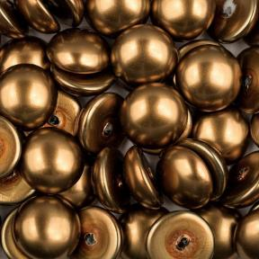 Glass Pearl Cabochons 14 мм Shiny Antique Brass