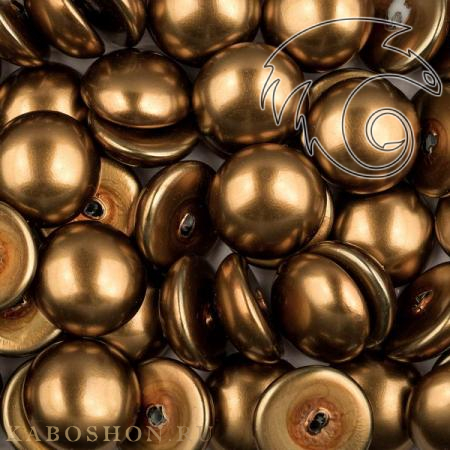 Glass Pearl Cabochons 14 мм Shiny Antique Brass (5 шт)