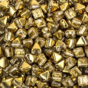 Pyramid beads 2-hole 6 мм Crystal Amber (10 шт)