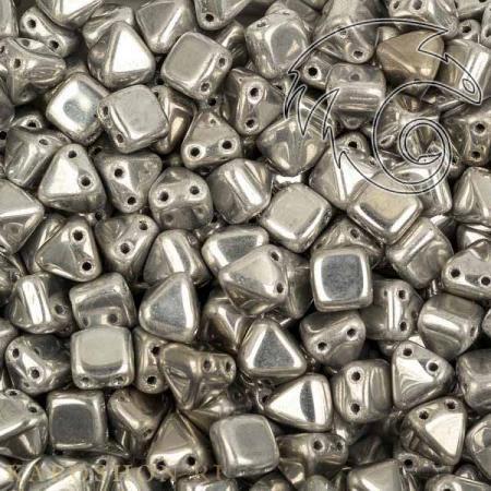 Стеклянные чешские бусины Pyramid beads 2-hole 6 мм Crystal Labrador Full (10 шт)