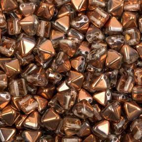 Pyramid beads 2-hole 6 мм Crystal Capri Gold (10 шт)