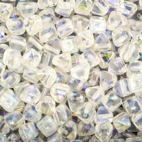 Pyramid beads 2-hole 6 мм Crystal AB