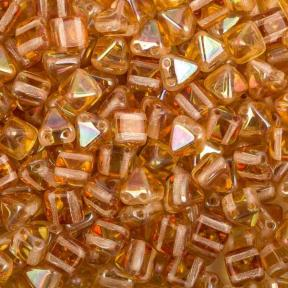 Pyramid beads 2-hole 6 мм Crystal Apricot Medium