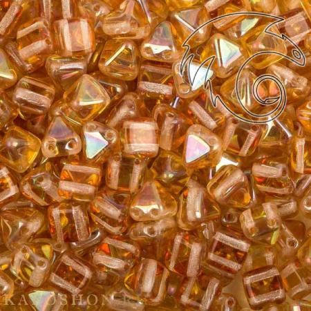 Стеклянные чешские бусины Pyramid beads 2-hole 6 мм Crystal Apricot Medium
