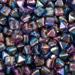 Pyramid beads 2-hole 6 мм Crystal Magic Blue (10 шт)