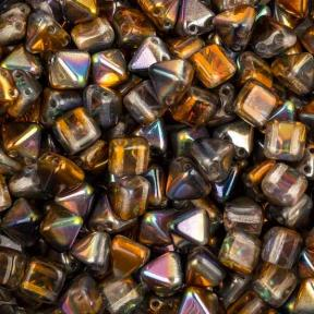 Pyramid beads 2-hole 6 мм Crystal Magic Copper (10 шт)