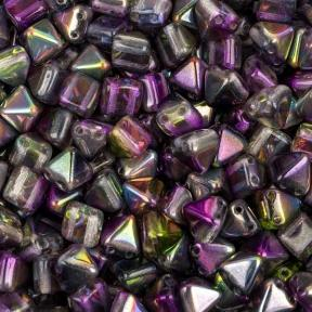 Pyramid beads 2-hole 6 мм Crystal Magic Purple (10 шт)