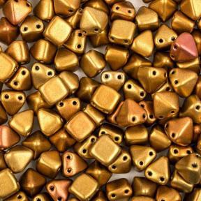 Pyramid beads 2-hole 6 мм Metallic Mix (10 шт)