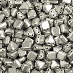Pyramid beads 2-hole 6 мм Aluminium Silver (10 шт)