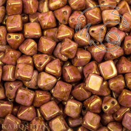 Стеклянные чешские бусины Pyramid beads 2-hole 6 мм Alabaster Roman Rose
