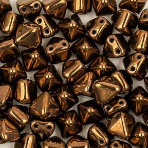 Pyramid beads 2-hole 6 мм Jet Bronze (10 шт)