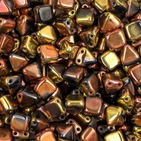Pyramid beads 2-hole 6 мм Jet California Gold Rush (10 шт)