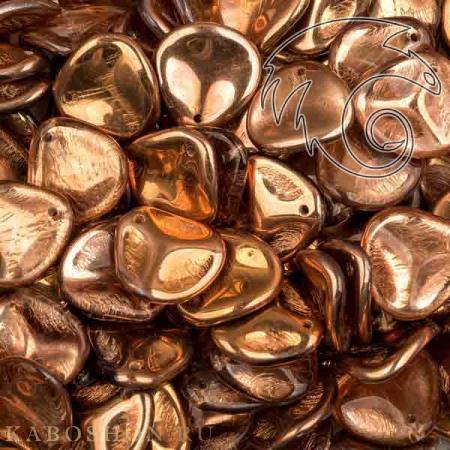 Стеклянные чешские бусины Rose Petal 14х13 мм Crystal Capri Gold