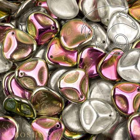 Стеклянные чешские бусины Rose Petal 14х13 мм Crystal Vitrail (10 шт)